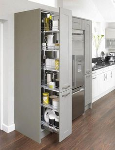 Canterbury Olive & Pebble Pull Out Larder Unit Mereway Hampshire Kitchen Canterbury Olive & Pebble P Kitchen Larder Units, Kitchen Pantry Cabinets, Kitchen Pulls, New Kitchen, Kitchen Cupboard Storage, Corner Larder Cupboard, Kitchen With Corner Pantry, Larder Storage, Pull Out Kitchen Cabinet