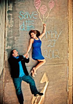 How cute is this save the date with chalk? Looks like the bride is going to float away!