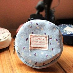 Allywit Floral Fabric Circular Zipper Coin Purse Wallets Admission Package Blue