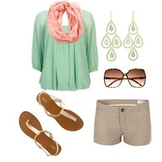 Khaki shorts, mint top, apricot scarf, gold sandals
