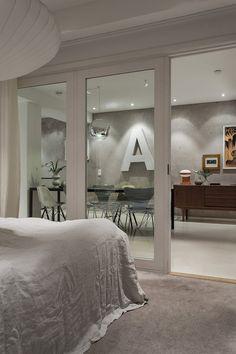 dalagatan bedroom livingroom A Eames grey Stockholm Fantastic Frank Stockholm, Gravity Home, Wall Finishes, Loft, Home Decor Inspiration, House Tours, Living Room, Interior Design, Architecture