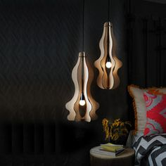 Grandelier Pendant Light - Genie 2 Bump by Hang as a single or a pair. Sits equally well in modern interiors and midcentury interiors. Made from Sustainably sourced tasmanian timber Cnc Woodworking, Energy Saver, Bulb, Indoor, Recycled Products, Ceiling Lights, Lighting, Pendant, Inspiration