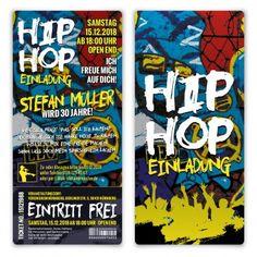 Geburtstag Einladung als Eintrittskarte - Old School Hip Hop  #oldschool #hiphop #Geburtstag #einladung #einladungskarten #konzertticket #grafitti
