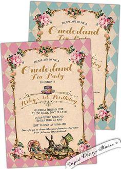 Alice in Wonderland First Birthday invitation. Onederland. Tea Party. Mad hatter. Shabby Chic. First Birthday. Pink. Blue. Printable. DIY