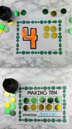 These math activities are perfect for preschoolers and kindergarteners! Use gold coins to practice counting, patterns, forming numbers, subitizing, making ten, and more! Print the free printable and start using this right away! Subitizing Activities, Ten Frame Activities, Preschool Learning Activities, Toddler Activities, Special Education Activities, Numeracy, Math Games, Fun Games, Preschool Schedule