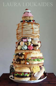 """food cake OH MY GOSH THAT IS A CAKE!!  Junk food  """"The Big Eater"""" - Cake International 2014"""