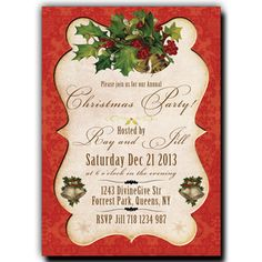 Christmas Party Invitation - Vintage Classic Christmas Invitation, Snowflake, bells, Holly, or 4 Vintage Invitations, Invitation Paper, Printable Wedding Invitations, Bridal Shower Invitations, Christmas Open House, Victorian Christmas, Christmas 2017, Christmas Ideas, Christmas Party Invitations
