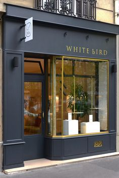 EBO_enbandeorganisee_en bande organisée_WHITE bIRD Jewelry shop - Interior design Paris - in collaboration with Johanna Shop Signage, Signage Design, Facade Design, Exterior Design, Architecture Design, Retail Facade, Shop Facade, Shop Front Design, Store Design