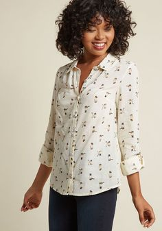 Long Sleeve Oxford Top | ModCloth | $50 | cat kitten meow print prints subtle blouse button up cuff sleeves white collared feminine girly flowy (size large)