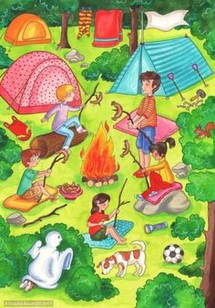 Family Camping Trip ~ by Claudia Bauer Titel Language Activities, Therapy Activities, Preschool Activities, French Pictures, Hidden Pictures, Writing Pictures, Picture Writing Prompts, Teaching Spanish, Teaching English