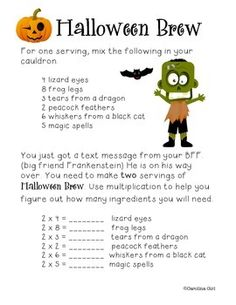 "This is a beginning of multiplication activity with 2x and 5x and an multiplication family of your choice.  Students must increase the ingredients for  ""Halloween Brew"" as more and more friends are invited to the party.  Great for math centers or a fun homework sheet."