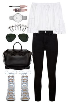 """Untitled #9733"" by katgorostiza ❤ liked on Polyvore featuring Paige Denim, Carolina Herrera, Givenchy, Ray-Ban, Topshop and Maybelline"