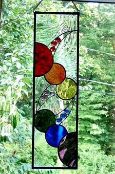 Rainbow Stained Glass Panel Suncatcher by miloglass on Etsy, $95.00