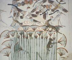 Scène de chasse : chat (au centre à droite) sur un papyrus, tombe de Menna, Thèbes (il est accompagné d'un ichneumon, en bas à gauche)