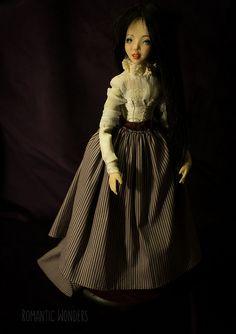 Lady is movable polymerclay doll. Two wigs Unremovable silk shirt, corset. Ooak Dolls, Art Dolls, Silk Dress, Dress Skirt, Cotton Dresses, Corset, Bodice, Wigs, Velvet