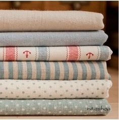"Cotton Linen Fabric Cloth -DIY Cloth Art Manual Cloth -Stripe Anchor Cloth Set  6'Pieces 13x9 Inches "" Each"