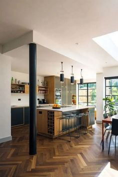 Bespoke plywood furniture Bespoke Plywood Kitchen by Uncommon Projects Open Plan Kitchen Dining Living, Living Room Kitchen, Home Decor Kitchen, Interior Design Kitchen, Home Kitchens, Open Plan Living, Large Open Plan Kitchens, Open Plan Kitchen Diner, Kitchen Diner Extension