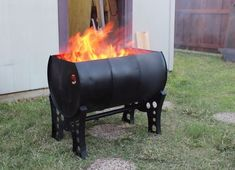 April Wilkerson, a DIYer and woodworker, has recycled an old drum into functional Scrap Wood-Burning Pit for her backyard.