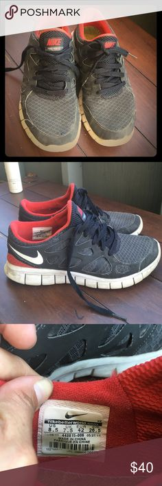 Red and black Nike free run 2 Great used condition. Do not stink! Men's size 8 1/2 or women's size 10 Nike Shoes Sneakers