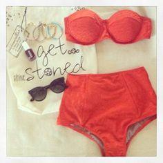 Maio Swim Textured Tribal (Orange) Demi top + Midkini bottom  This is just perfect