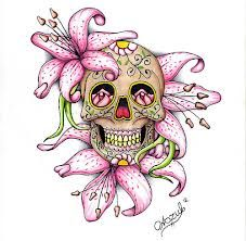 sugar skull but with carnations, lilly of the valley and forget me nots