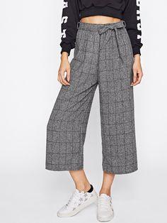 Pants by BORNTOWEAR. Windowpane Print Tie Waist Wide Leg Pants