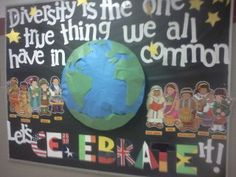 """Bulletin Board Idea: """"Diversity is the one true thing we all have . Class Displays, School Displays, Library Displays, Classroom Displays, Classroom Themes, Ib Classroom, Spanish Classroom, Classroom Organization, Diversity Bulletin Board"""