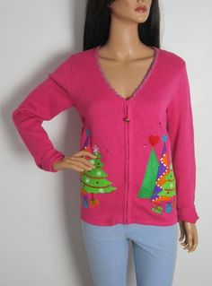 Vintage 1980s Pink Novelty Christmas Cardigan from Virtual Vintage Clothing
