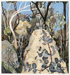 """Cressida Campbell (Australia, 1960 - ) Baker's Creek Bush, 1988 handpainted woodlblock print 62 x 57 cm "" Abstract Landscape Painting, Landscape Art, Landscape Paintings, Painting Inspiration, Art Inspo, Contemporary Australian Artists, Australian Painting, Gravure, Conceptual Art"