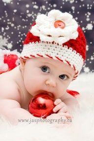 Christmas Newborn Baby Crochet Hat with Flower