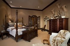 Ever imagine to be a hunter? Feed your hunter-soul with this safari room. Wild yet elegant. Safari Room, Safari Theme Bedroom, Bedroom Themes, Bedroom Decor, Bedroom Ideas, Jungle Safari, Jungle Theme, Bedroom Colors, African Bedroom