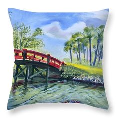 Red Island Bridge Throw Pillow for Sale by Colleen Proppe Pillow Reviews, Red Art, Pillow Sale, Basic Colors, Color Show, Valentine Gifts, Colorful Backgrounds, Fine Art America, Tapestry