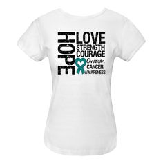 Ovarian Cancer Hope Love Strength Women's Fitted T-Shirt - White | Cancer Shirts | Disease Apparel | Awareness Ribbon Colors