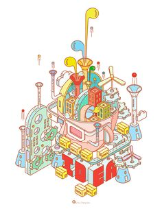The IDEAS Conference / Key Visual Illustration by KuoCheng Liao, via Behance Graphic Design Illustration, Digital Illustration, Graphic Illustration, Graphic Art, Isometric Art, Isometric Design, Unicorn Pictures, Illustrations, Game Art