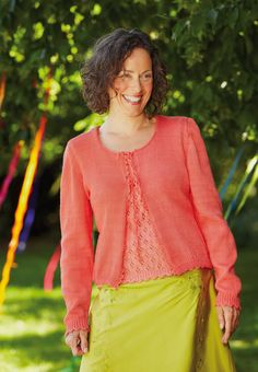 Damen-Strickjacke mit Muschelkante - kostenlose Strickanleitung