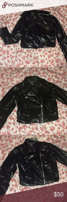 """Hollywood"" Motorcycle Pleather Jacket Edgy, on-trend, and unique motorcycle jacket with ""Hollywood"" written on the back. Would be a great piece to layer a graphic tee and ripped jeans with! Jackets & Coats"