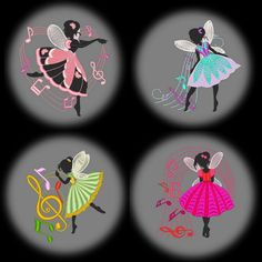 DANCING FAIRIES 4inch  10 Machine Embroidery Designs
