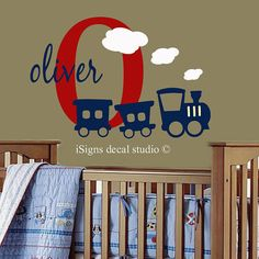 Train Initial Name Decal - Nursery, Kids Room, Playroom Train Wall Decal Sticker