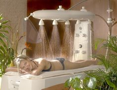 Ambiance Vichy Shower from Stas-Doyer - For those fantastic body treatments! Massage Room Decor, Massage Therapy Rooms, Home Spa Room, Spa Rooms, Soul Spa, Spa Interior Design, Spa Treatment Room, Sauna Design, Pool Landscape Design