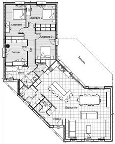 plan maison plain pied en y The Plan, How To Plan, Small House Plans, House Floor Plans, Hexagon House, Small Room Bedroom, Bungalows, Best Investments, Autocad
