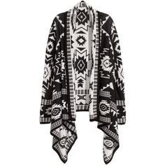 H&M Jacquard-knit cardigan (£25) ❤ liked on Polyvore featuring tops, cardigans, knit cardigan, long sleeve cardigan, black long sleeve cardigan, black knit top and long sleeve knit tops