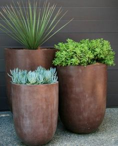 Garden Design 19 Super Chic Outdoor Planters That Will Make your Plants Look Beautiful Than Ever! - Check out this list of gorgeous outdoor planters that come with great capabilities of displaying your plants in a statement-making way. Garden Planters, Planter Pots, Tall Outdoor Planters, Modern Planters, Succulents Garden, Front Yard Planters, Indoor Outdoor, Potted Plants Patio, Front Yard Landscaping