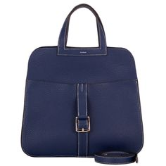 Hermes Blue Sapphire Clemence Halzan Bag | From a collection of rare vintage tote bags at https://www.1stdibs.com/fashion/handbags-purses-bags/tote-bags/