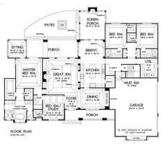 The Birchwood House Plans First Floor Plan - House Plans by Designs Direct. Love the floor plan.would only add a bathroom to the upstairs to bonus room. And maybe switch the Study and the Utility room! One Floor House Plans, Ranch House Plans, Dream House Plans, My Dream Home, Dream Homes, The Plan, How To Plan, Plan Plan, Br House