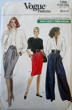 Vogue 7364  Women's 80s Sewing Pattern Tapered Skirt & Wide Legged Pants Hip 32 to 34