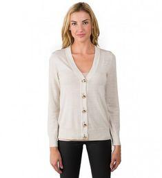 4acbe206fa8 Women s 100% Merino Wool Long Sleeve V Neck Button Cardigan Sweater - Beige  - CR11Z2GPJ91. JENNIE LIU Womens Cardigan Sweater