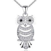 Barbara丨AAA Zircon 18K White Gold Plated Retro Owl Pendant Necklace