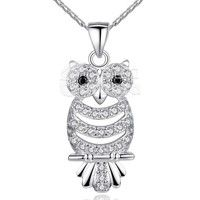 Barbara丨AAA Zircon 18K White Gold Plated Retro Owl Pendant Necklace