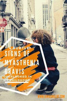 "Myasthenia gravis isn't always evident. The more subtle signs of myasthenia gravis can be overlooked or dismissed when there's a ""rational"" explanation. Chronic Anemia, Chronic Illness, Chronic Pain, Fibromyalgia, Autoimmune Arthritis, Kids Health, Children Health, Myasthenia Gravis, Muscle Weakness"