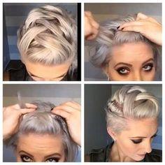 Good looking braided short hairstyles - Haare - Hochsteckfrisur Short Hair Updo, Braids For Short Hair, Short Hair Cuts, Curly Hair Styles, Pixie Hairstyles, Pretty Hairstyles, Braided Hairstyles, Wedding Hairstyles, Hairstyles Videos